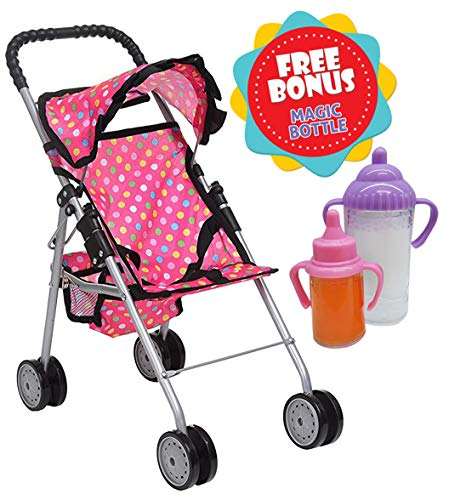 Exquisite Buggy, My First Doll Stroller Pink & Off-White with Basket in The Bottom (Polka Dot) ()