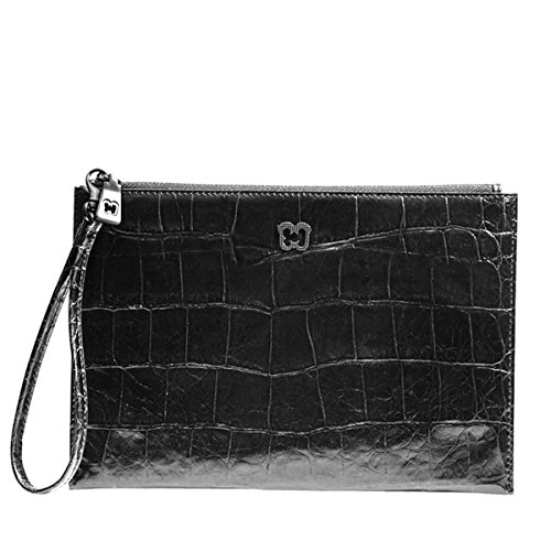 Eric Javits Luxury Designer Women's Fashion Handbag - Flat Zip Clutch - Black Croc from Eric Javits