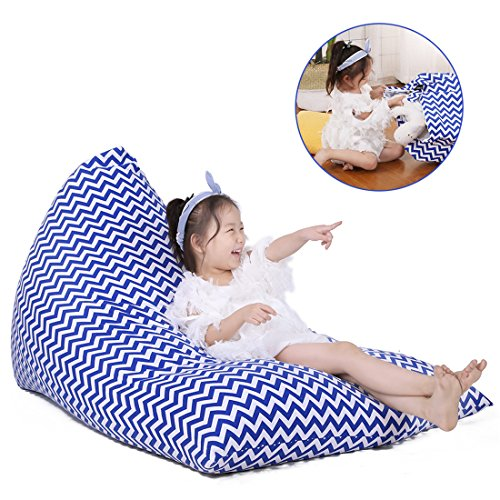 Storage Bean Bag Chair (COVER ONLY), Big Sofa Cover, Cotton Canvas Toy Organizer, Create Comfy Lounger Bed for Kids and Adults, Popular Chevron Print Blue - 200 L (Canvas Recliner)
