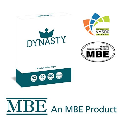 Dynasty Copy Paper, White Paper, 8.5 x 11, Letter, 92 Bright, 10 Reams - Diversity Product, MBE Certified (200550C) by DYNASTY (Image #1)