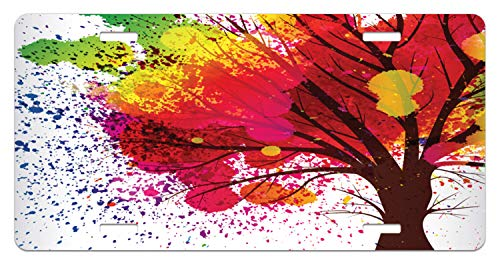 (Lunarable Colorful Tree License Plate, Spring Season Blossom Theme with a Tree Trunk and Rainbow Watercolor Splashes, High Gloss Aluminum Novelty Plate, 5.88