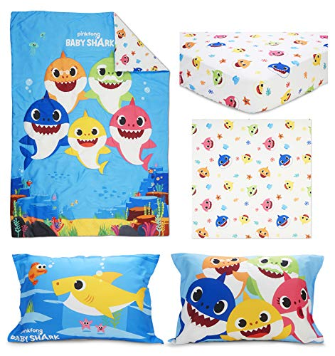 Baby Shark 4 Piece Toddler Bedding Set - Includes Quilted Comforter, Fitted Sheet, Top Sheet, and Pillow Case 7