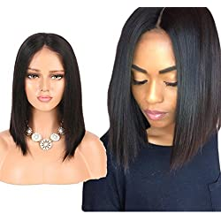 Nobel Hair Human Hair Lace Front Wigs For Black Women Brazilian Virgin Human Hair Short Bob Wigs Straight Glueless Lace Wig 12Inch