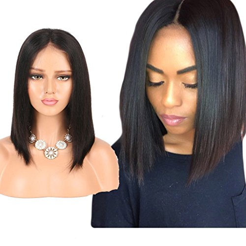 Nobel Hair Lace Front Wigs Human Hair For Black Women Brazilian Virgin Human Hair Short Bob Wigs Slightly Bleached Knots Straight Glueless Lace Wig 1B Color 8Inch (Womens Bob Wigs)