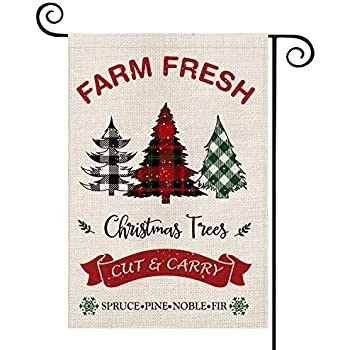 AVOIN Farm Fresh Christmas Trees Garden Flag Vertical Double Sized, Winter Holiday Buffalo Plaid Farmhouse Burlap Yard Outdoor Decoration 12.5 x 18 Inch