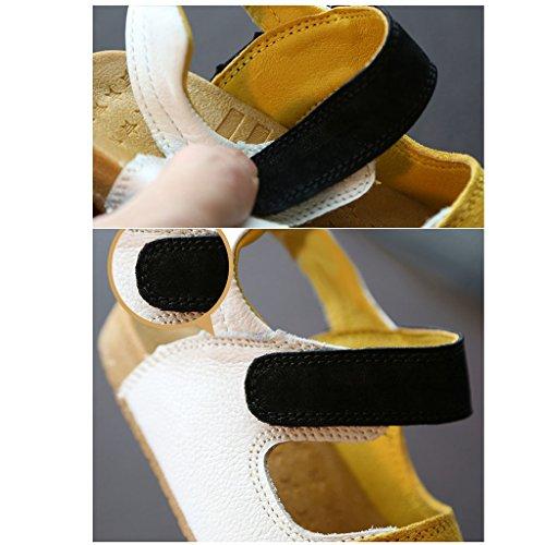 fygood piel suave suela Sandalias para bebé con cinta de velcro negro negro Talla:21/inner length:5.31in blanco