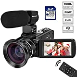 Video Camera Camcorder Kenuo Ultra HD 1080P 24.0MP 30FPS Digital Camera 3.0 Inch IPS LCD 270 Degrees Rotatable Screen IR Night Vision 16X Digital Zoom Face Detection Beauty Function Remote Control With External Microphone Wide Angle Lens With 32GB SD Card