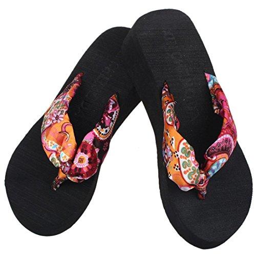 Malloom Sandalen, Mädchen Keil Plattform Tanga Flip Flops Sandalen Schuhe Strand Casual Hausschuhe Schwarz