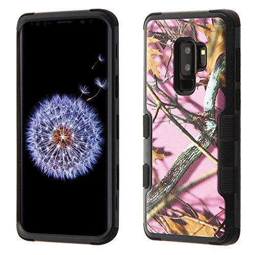 MyBat Cell Phone Case for Samsung Galaxy S9 Plus - Natural Pink Oak-Hunting Camouflage/Black Image