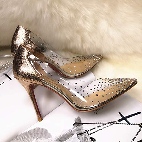 Yukun zapatos de tacón alto Transparent Rhinestone Pointed Shoes Women's High Heel Stiletto Single Shoes Crystal Shoes Wedding Shoes Champagne Gold