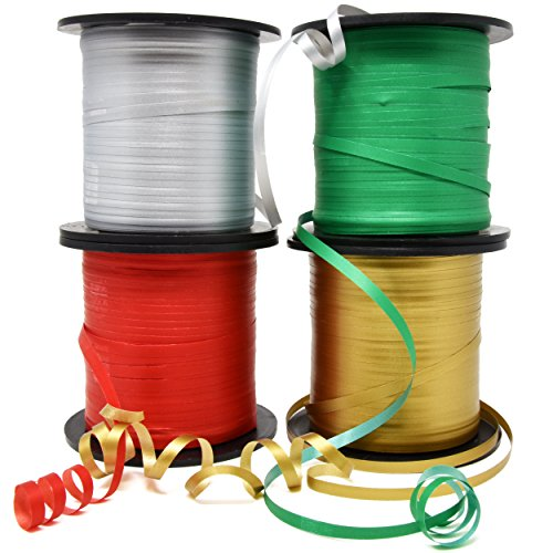 Christmas Curling Ribbon Pack of 4 Rolls Green, Red Gold & Silver; Holiday Party Crafts Supplies Decorations- 350 Yards per Roll - Total of 4200 Feet 5mm Ribbon; by Gift Boutique