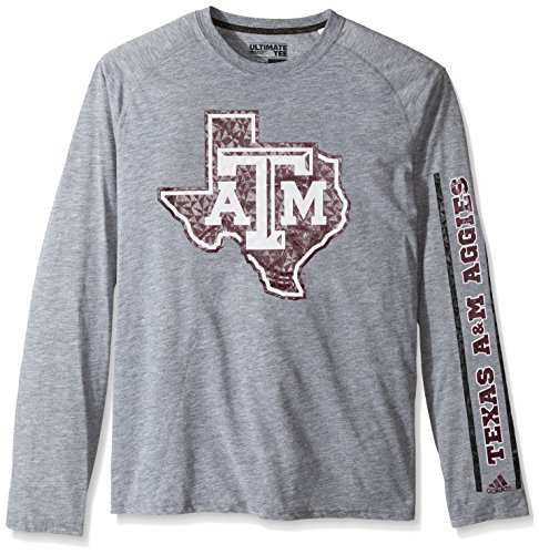 (adidas NCAA Texas A&M Aggies Adult Men Sleeve Play Ultimate L/S Tee, Large, Medium Grey Heather)