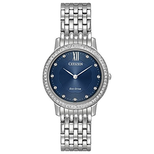 Citizen Eco-Drive Womens Silhouette Crystal Watch - Blue Dial - Bracelet