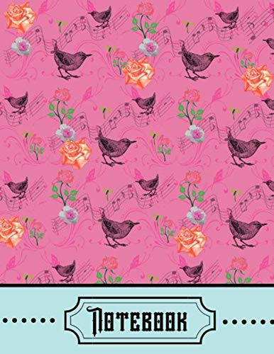Notebook: Pink Vintage Floral Pattern Birds Roses Writing Gift - Lined NOTEBOOK, 130 pages, 8.5