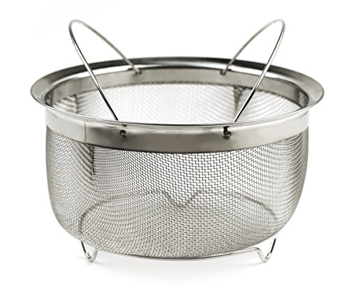 (RSVP Endurance Stainless Steel Mesh Basket with Folding Handles, fits Instant Pot )