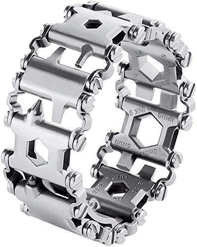 0M0DZH Survival Multitools Silver Bracelet for Men,29 in 1 Stainless Steel Multifunction Bracelet Outdoor Multitools…