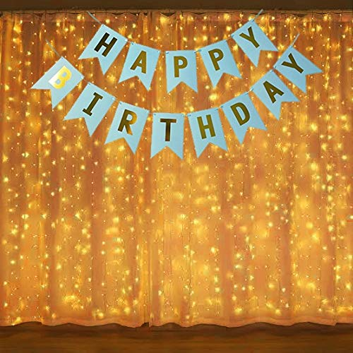 Theme My Party Birthday Banner Decoration with led Light Pack for Birthday Decoration at Home/Outside (Light with Blue Banner)