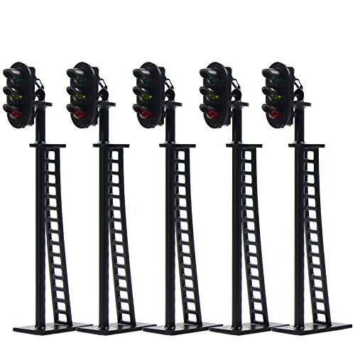 JTD04 5pcs Model Railway 3-Light Block Signals G/Y/R HO Scale 6.8cm 12V Led New from Evemodel