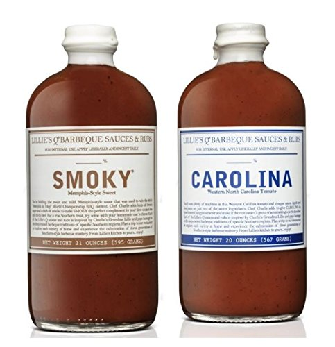 Lillie's Q Barbeque Sauce- CAROLINA 20 oz & Barbeque Sauce- SMOKY 21 oz (Pack of 2)
