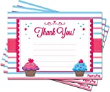 Thank You Cards With Envelopes (15 Count) - Kids Birthday Party, Baby Shower - Greeting Note Cards - Cupcake Theme