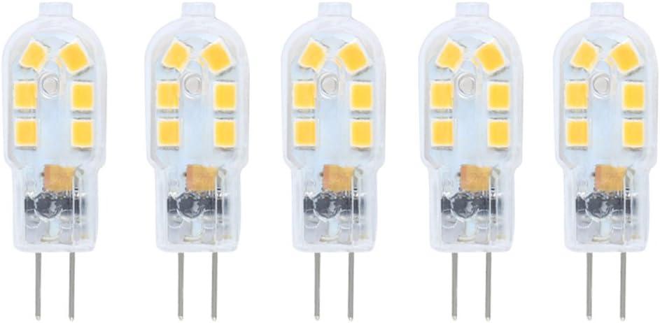 5X G4 2W Bombilla lámpara LED,10W Lgualdad,150 Lumen,Blanco Cálido 3000K,AC/DC 12V,Ángulo de visión 360°