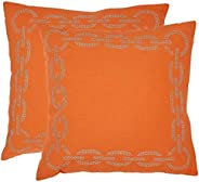 Safavieh Pil156C-1818-Set2 Sibine Pillow, color Orange, pack of/paquete de 2