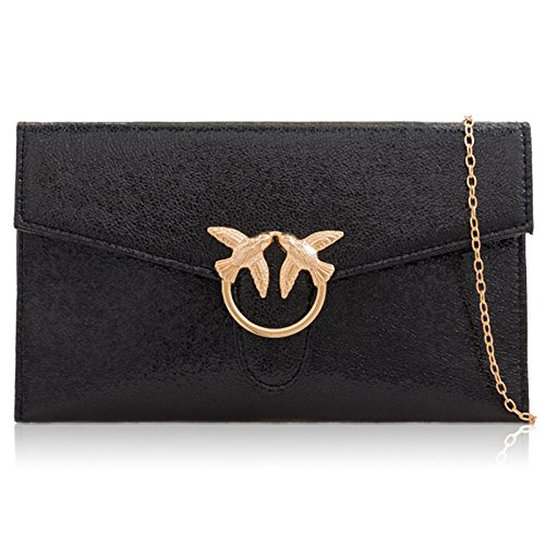 Party Bag London Leather Black Evening Metallic Clutch Women Handbag Xardi Medium Faux Flat Wedding q4wAnwIT
