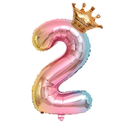 MISSC Number 2 Balloon,Children's Birthday Party Decorative Balloons, Digital Crown Aluminum Balloons (2): Toys & Games
