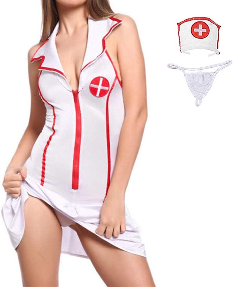 VicSec [3 Piezas] Uniforme Enfermera Sexy Lencería para Mujer, Erótica Vestido Corto Cosplay Disfraz Traje Caliente Camisón para Esposa Novia Ropa Juego de rol Traviesa Tentación