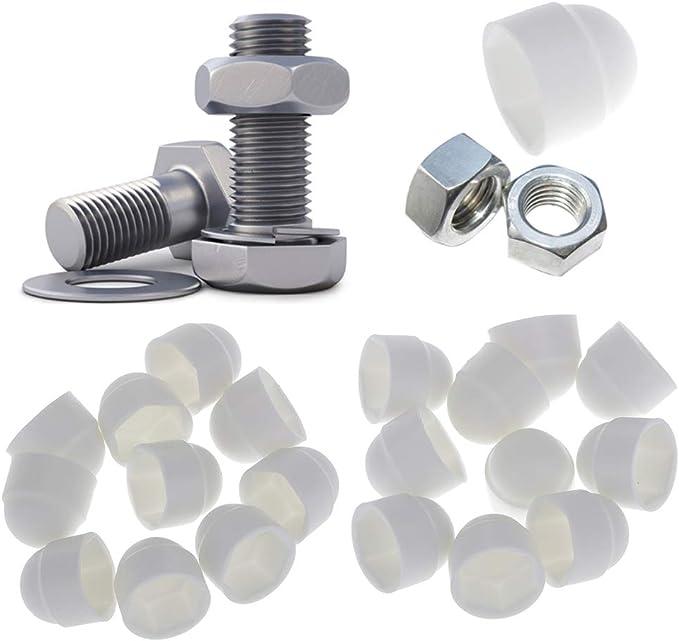 M8x13 E-outstanding 24pcs M8 Plastic Hexagon Bolt Nut Black Nylon Dome Protection Caps Covers Exposed