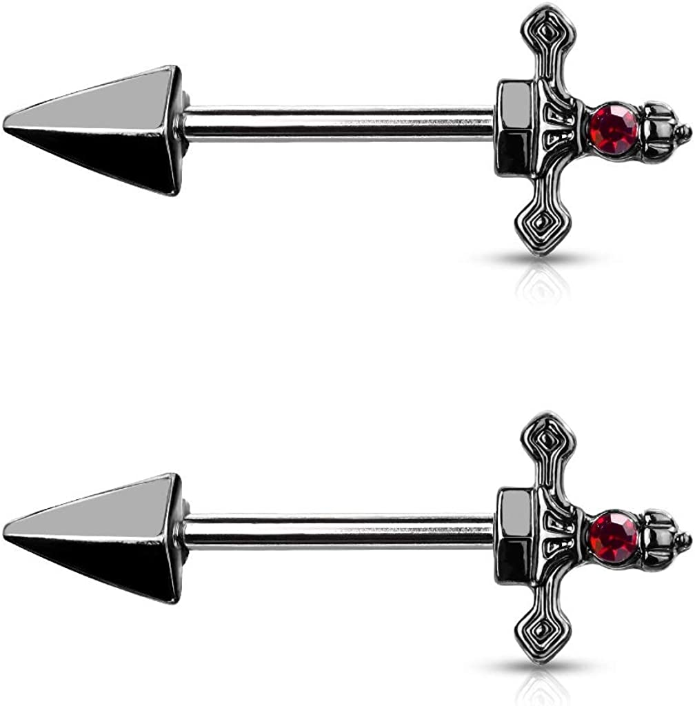 1 or 2 14g Nipple Barbells Nipple Ring Industrial Scaffold BLACK Victorian Rose w AB Crystal Choose Barbell Length and Finish