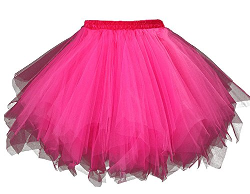 MsJune Women's 1950s Vintage Petticoats Crinolines Bubble Tutu Dance Half Slip Skirt Fuchsia-S/M (80s Womens Fancy Dress)