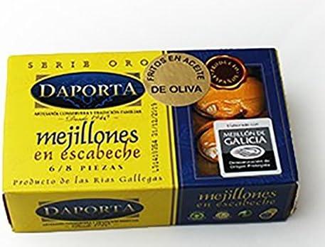 Conservas Daporta - Mejillones en Escabeche Gigante 6/8uds D.O. - Lata de 125Gr [Pack de 4]: Amazon.es: Alimentación y bebidas