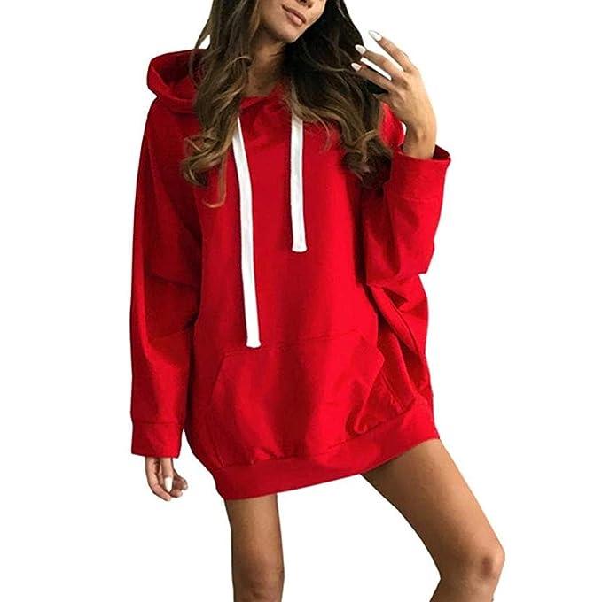Mujer Sudaderas con Capucha, Lananas Mujer Moda Casual Manga Larga Rojo Mini Vestir Largo Pullover Sweatshirt Hoodies: Amazon.es: Ropa y accesorios
