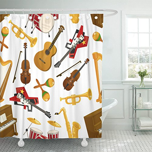 Acoustic Cymbals - Emvency Shower Curtain Musical Instruments of Acoustic Guitar and Violin with Bow Orchestra Harp Piano Maracas Saxophone Cymbals Waterproof Polyester Fabric 72 x 72 inches Set with Hooks