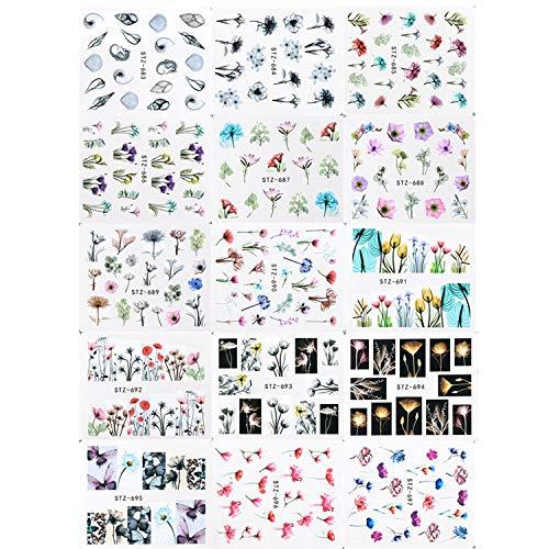 Joyibay Nagelsticker, 24 Blatt Nail Art Stickers Blumen Nagelsticker Wassertransfer Nagel Aufkleber Nägel Aufkleber Elegant Set für Party, Weihnachten, Neujahrsdekoration etc