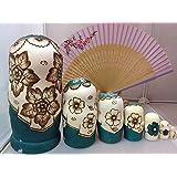 Leegoal New 7pcs Wooden Russian Nesting Dolls Braid Girl Dolls Traditional Matryoshka Wishing Dolls Gift Green
