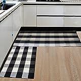 ANJUREN Multifunction Durable Cotton String Plaid Reversible Area Rugs Washable hallway Runner Polyester Rug Carpet Mat Pad For Kitchen Bathroom Door Bedroom pets Sofa (23.6''x51.2'', Black&White Grid)