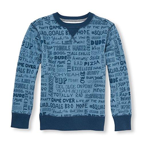 The Children's Place Boys Crewneck Fleece Sweatshirt, Lake Blue S (5/6)