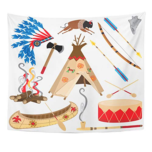 Emvency Tapestry Wall Hanging Cowboy American Indian Clipart and White Teepee Arrowhead Drum Arrow Bow Canoe 50