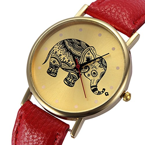 Womens Elephant Watches,COOKI Unique Analog Fashion Lady Watches Female watches on Sale Casual Wrist Watches for Women,Round Dial Case Comfortable Leather Watch-H33 (Red)