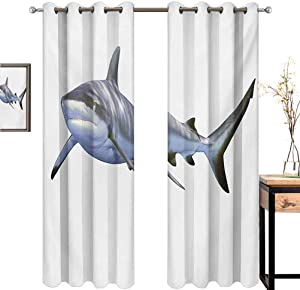 """Shark Room bedroom large living room grommet curtains extra long A Large Reef Shark Swimming Futuristic Computer Art Stylized Underwater Design Grommet Curtain Backdrop W84"""" x L108"""" Blue Grey White"""
