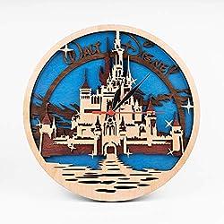 Birthday Gift For Fan Cinderella Castle Wooden Clock Walt Disney Wall Art 3D Wall Clock Cartoons Art Walt Disney 12 Inch Wooden Clock Xmas Gift for Kids Wooden Wall Clock With Cinderella Castle Design