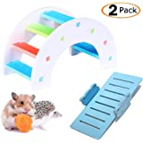MUMAX Hamster Toys, DIY Wooden Rainbow Bridge with PVC Seesaw Sport Exercise Toys Set Great for Hamster Nest Mouse Mic…