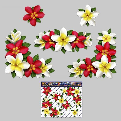 Flower frangipani plumeria corners red white decal car stickers st00045rd lge jas stickers