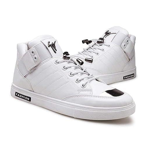 d3650aa7 DSX Zapatos de Baile de Calle para Hombre Calzado Casual Tobillo de Cuero  Manténgase Caliente Negro Pistola Blanca Color, Blanco, EU39 / UK6 / CN39:  ...