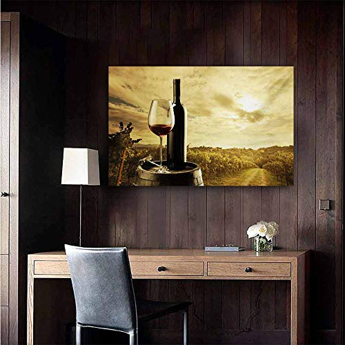 duommhome Wine Simulation Oil Painting Red Wine Bottle and Glass on Wooden Barrel Dramatic Sky Agriculture Decorative Painted Sofa Background Wall 24