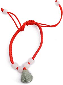 Feng Shui Kabbalah Red String Bracelet with Jade Laughing Buddha +Free Red String Bracelet SKU:M1078