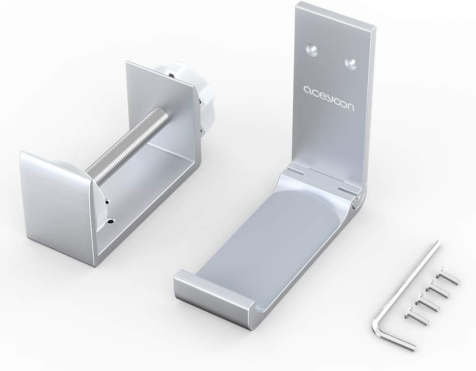 Blanco aceyoon Headphone Stand Ajustable Soporte Cascos de Aluminio y Silicona Soporte Auriculares Plegable Universal debajo del Escritorio para Auriculares Bluetooth Cascos Gaming Gamer