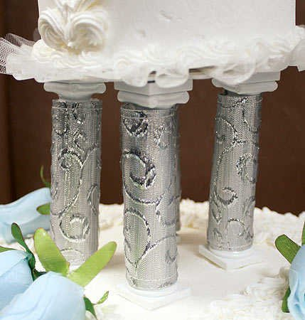 Elegant Embroidered Silver Wrapped Cake Pillar Covers by Wilton-4 pcs. (Pillar Wrapped Silver)